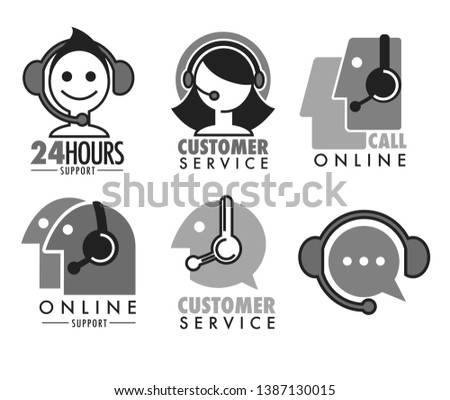 Online or telephone aid and help customer service isolated icons set vector operator in headset call center helpline question answering emblem or logo chat distant assistance social media webpage.