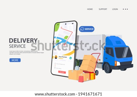 Online order tracking or freight delivery service transportation vector, flat cartoon truck automobile with warehouse parcel packages and cell phone or phone city map pin track