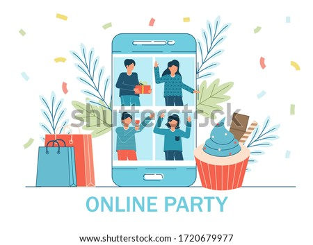 Online party, birthday, meeting friends. People have online party together in quarantine. Video chat. Class reunion graduation party. Video conference video call. Birthday party web camera