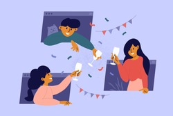 Online party, birthday, virtual meeting with friends. Man, women stay home, drink wine through computer windows. People celebrate event remotely. Video call during self isolation. Vector illustration.
