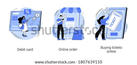 Online payment abstract concept vector illustration set. Debit card, online order, buying tickets, plastic money, buying goods on internet, e-commerce shopping, booking mobile app abstract metaphor.