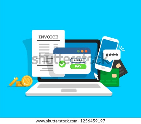 Online payment concept. Laptop with electronic invoice. Financial transaction confirmation via SMS. Coints and card on background. Vector illustration in flat style.