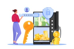 Online payment, internet storage or transfer vector illustration with safe door, smartphone, woman, key. Business finance money transfer, secure saving technology. Online payment concept with coins