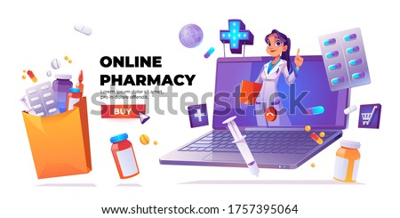 Online pharmacy banner. Online drugstore service. Vector cartoon banner with woman doctor or pharmacist on laptop screen, drugs, pills and buy button on white background