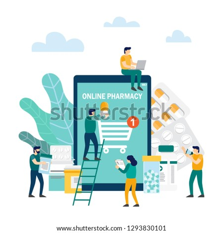 Online pharmacy concept. Man and drugstore on smartphone screen. Vector illustration in flat style #1293830101