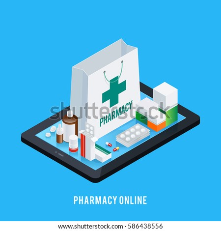 Online pharmacy conceptual composition with isometric images of tablet and various pharmaceutical drugs on screen top vector illustration