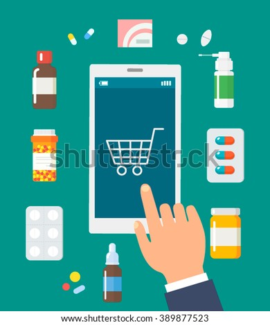 online pharmacy isolated vector illustration in flat style