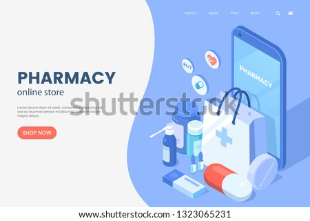 Online pharmacy isometric illustration. Smartphone with shopping bag, medical supplies, bottles liquids and pills. Drug store web page concept. Pharmacy purchases. Vector eps 10.