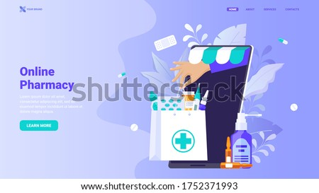 Online pharmacy site design concept. Flat modern vector illustration  for web site design, banner, landing page. Buy medicaments and drugs online. E-commerse site design.
