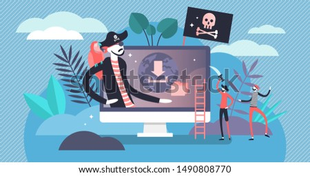 Online piracy vector illustration. Flat tiny illegal illegal hackers persons concept. Internet thief, crime and fraud symbolic visualization. Cyberspace crime with file download and movies sharing.