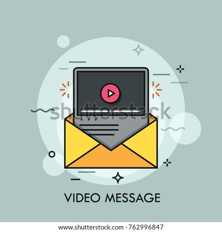 Online player window inside yellow envelope. Concept of video message or file receiving and sending, multimedia information or data transfer. Colorful vector illustration for web banner, poster.
