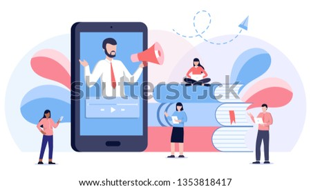 Online podcast course vector illustration concept, people learning on laptop and smartphone study on podcast. Man with mouthpiece on smartphone screen. Mobile app, web site. #1353818417