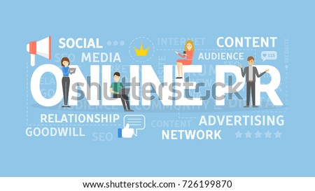 Online PR concept illustration. Idea of digital marketing, online business and internet.