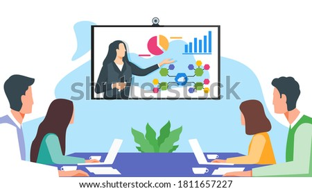 Online Presentation. Businesswoman Present Investment to Potential Client or Senior Worker Explain Data Analysis to Employee via Virtual Remote Meetings TV Video Web Conference or Live Stream Webinar.