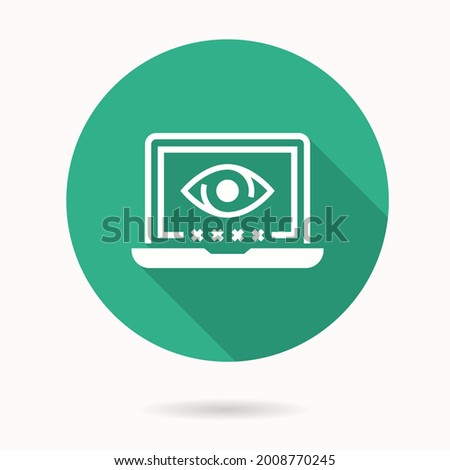 Online privacy icon. Simple illustration with long shadow isolated for graphic and web design.