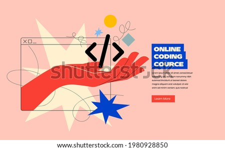 Online programing or coding or mobile app or website development course banner design concept with hand coming out of browser silhouette and holding code in trendy bright colors. Vector illustration