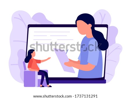 Online psychological counseling. Social distancing concept. Online psychological assistance service, psychologist, psychology. Psychological help, psychotherapy, consulting patient. Aid, solving problem. Vector