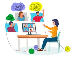 Online psychological help and support, group psychotherapy, flat vector illustration. Video conferencing technology, group chat. Psychologist online. Psychology and mental health counseling.