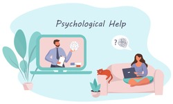 Online Psychological Help.Psychologist Doctor Helps Patient to Unravel Tangled Thoughts.Psychotherapist  Online.Male Patient Having Individual Psychological Therapy Session.Flat Vector Illustration