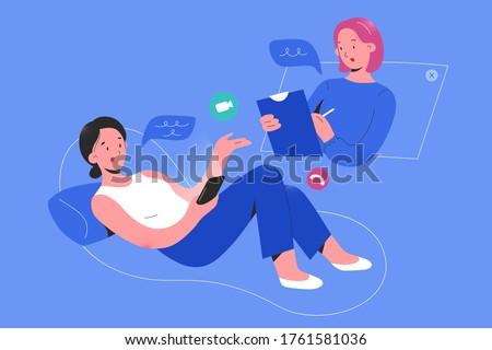 Online psychologist consulting a woman patient via smartphone app video call, psychotheraphy service, online psychological help service, therapy session, flat vector cartoon illustration Foto stock ©