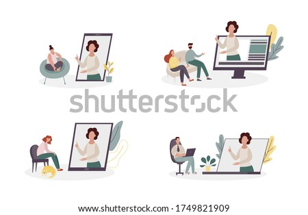 Online psychologist or therapist website concept - cartoon people in therapy session with virtual counselor on computer or phone screen, isolated vector illustration set. Photo stock ©