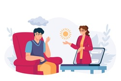 Online psychology help. Virtual psychologist therapy session. Depressed man get mental support therapist by video call, vector concept. Illustration support mental online, psychologist consultation