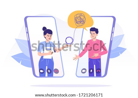 Online psychotherapy concept. Female psychotherapist helping patient by video call through smartphone. Man talking to psychologist. Psychological counseling services. Isolated vector illustration Сток-фото ©