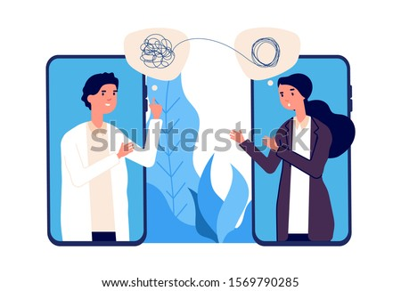 Online psychotherapy concept. Psychologist doctor helps patient to unravel tangled thoughts. Psychological problems, mental disorder. Online help vector illustration