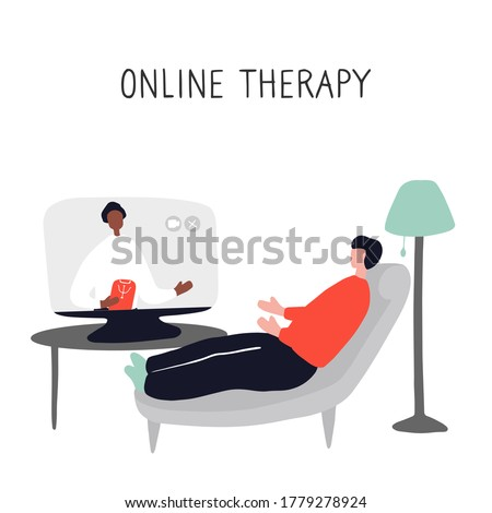 Online psychotherapy practice. Remote psychological help, psychiatrist consulting patient. Mental health care and treatment. Hand drawn vector illustration Foto stock ©