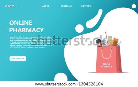 Online purchase and delivery of drugs. Online pharmacy bag with a set of medical drugs concept. Costum template can use for, landing page, template, ui, web, mobile app, poster, banner, flyer - Vector