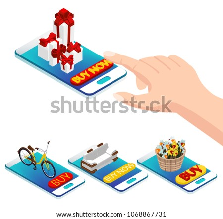 online purchase via smartphone. online store, buy flowers, buy furniture, buy bicycle, buy presents. Isometry 3d on a white background