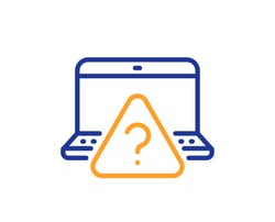 Online question line icon. Quiz sign. Outsource support symbol. Quality design element. Line style online question icon. Editable stroke. Vector