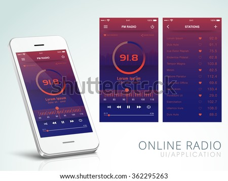 Online Radio Application User Interface layout including FM Radio Screen and Station Screens for Mobile Apps.
