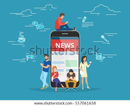 Online reading news. Young men and women are standing near big smartphone and using their own smart phones for reading news. Flat concept illustration of smartphone usability on blue background