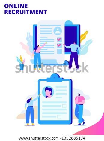 Online Recruitment concept. Employment. Business people team analyzing resume. Flat  vector illustration  for web.