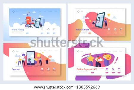 Online Recruitment Support Landing Page Set. Human Resources Employment Business. Agency Person Search Professional Candidate for Management Vacancy Website or Web. Flat Cartoon Vector Illustration