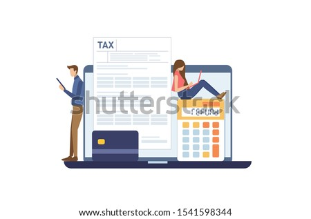 Online Refund Tax payment. Filling tax form. TAX refund concept. Vector illustration flat design style.