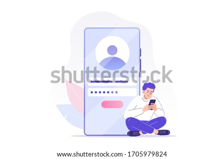 Online registration and sign up concept. Young man signing up or login to online account on smartphone app. User interface. Secure login and password. Vector illustration for UI, mobile app, web