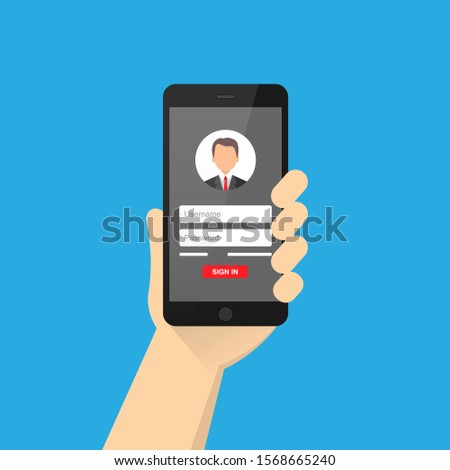 Online registration form. Login form, login page, opened in a web browser window on a mobile phone screen. Modern flat design vector illustration.