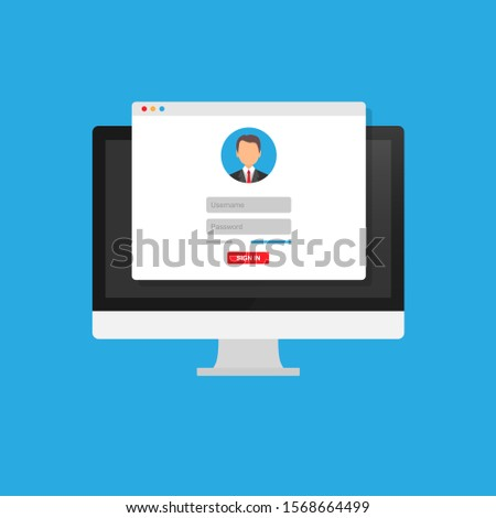 Online registration form. Login form, login page, opened in a web browser window on the monitor screen. Modern flat design vector illustration.