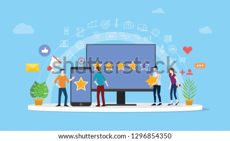 online reputation management team working together for customer review rating star with people work together to manage - vector illustration ストックフォト ©