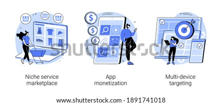 Online retail abstract concept vector illustration set. Niche service marketplace, app monetization, multi-device targeting, buy and sell products, startup launch, mobile user abstract metaphor.