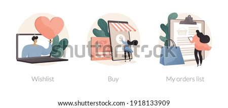 Online retailer abstract concept vector illustration set. Online shopping wishlist, buy product in stock, retail store, my orders list, shopping cart, user account, ecommerce abstract metaphor. Foto stock ©