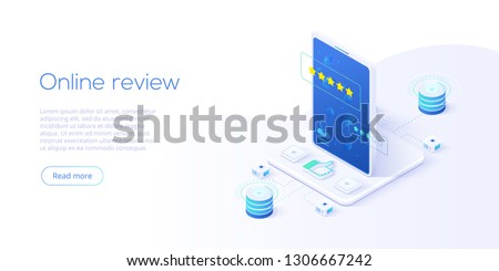 Online review concept in isometric vector illustration. Customer survey or reputation rating via mobile internet on smartphone. User feedback service on product or app. Web banner layout template.