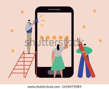 Online review concept. People give feedback, leave testimonials, evaluate customer experience via smartphone. Flat vector illustration of a group of men and women taking customer survey on mobile Сток-фото ©