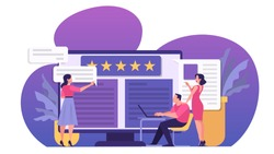 Online review concept. People leave feedback, good and bad comment. Star rating, idea of survey and evaluation. Isolated vector illustration in cartoon style