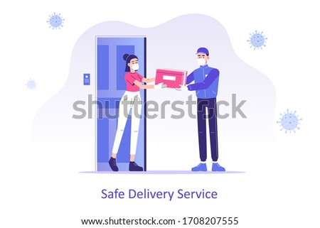 Online safe delivery service concept. Young courier man with medical mask delivering a package or box to woman during coronavirus (COVID-19) quarantine. Doorstep delivery to home. Vector illustration Stock photo ©