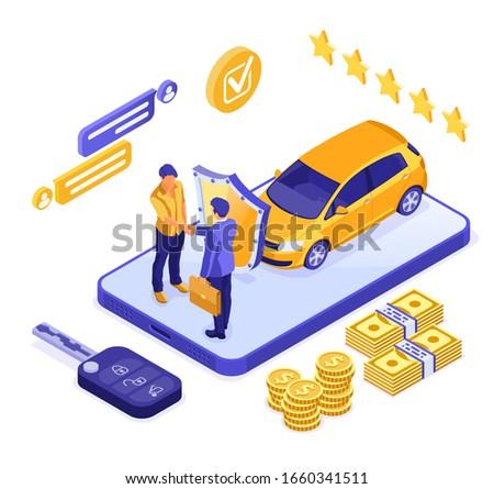 Online sale insurance rental sharing car isometric concept for landing, advertising with car, dealer, insurer, key, man. Auto rental, carpool, carsharing. isolated vector illustration