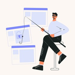 Online scam and hacker fraud concept flat vector illustration. Internet phishing stealing confidential data, personal information, online banking, email and data breach. Anonymous hacker character