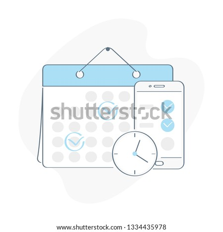 Online Schedule. Business graphics tasks, planning and scheduling operations agenda on a week in the calendar and smartphone, task schedule, to do list. Outline vector on white background.